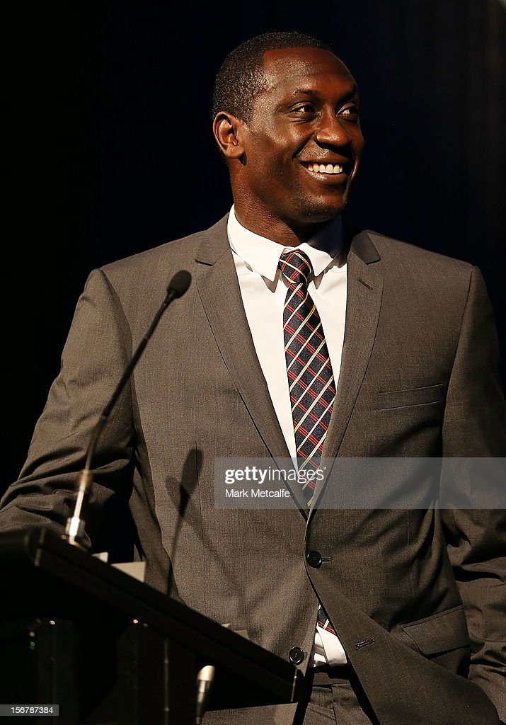 Emile Heskey of Newcastle Jets speaks on stage during the 2012 Australian Football Awards at Sofitel Hotel on November 21, 2012 in Sydney, Australia.