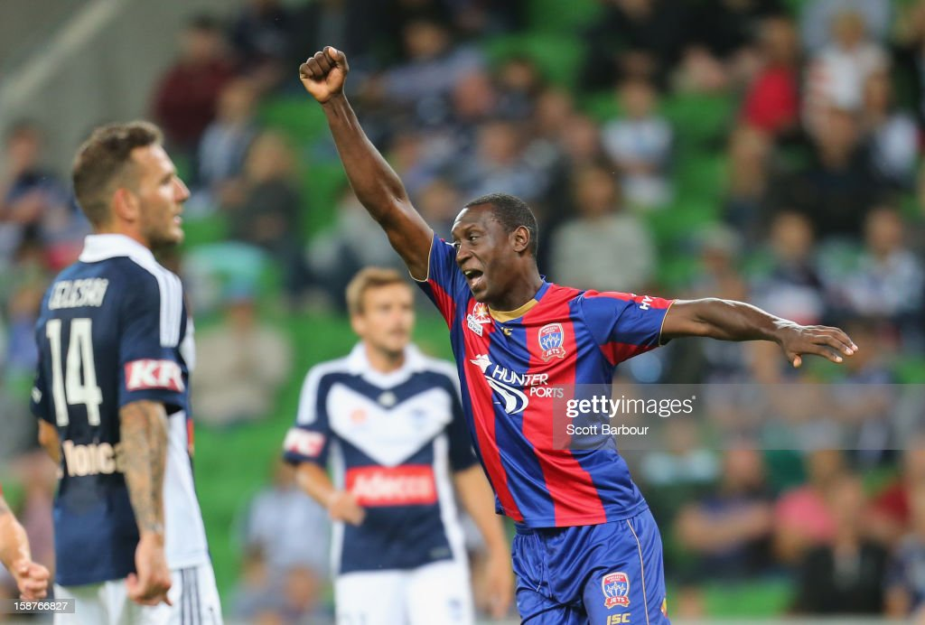 Emile Heskey of the Jets celebrates after scoring a goal during the round 13 A-League match between the Melbourne Victory and the Newcastle Jets at AAMI Park on December 28, 2012 in Melbourne, Australia.