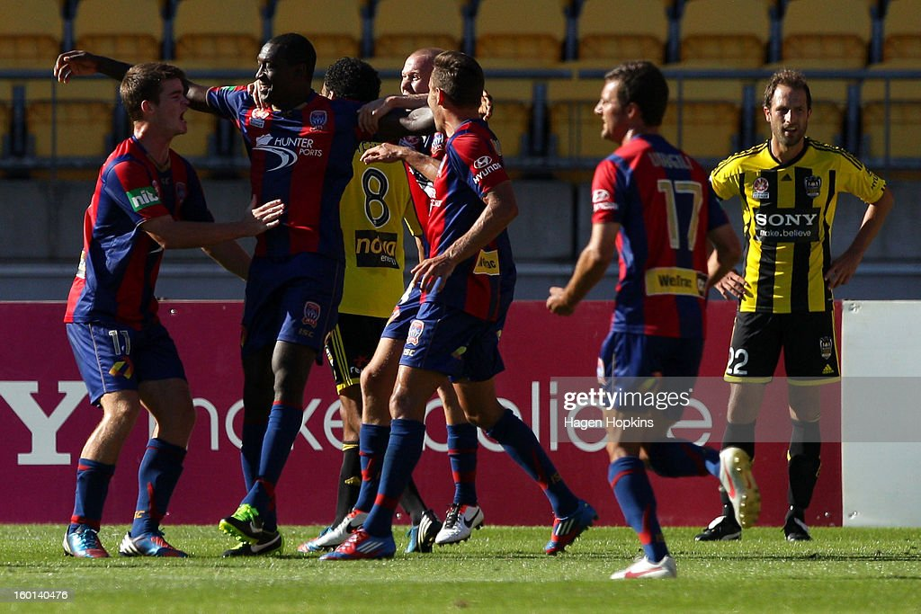 Emile Heskey of the Jets celebrates his goal during the round 18 A-League match between the Wellington Phoenix and the Newcastle Jets at Westpac Stadium on January 27, 2013 in Wellington, New Zealand.