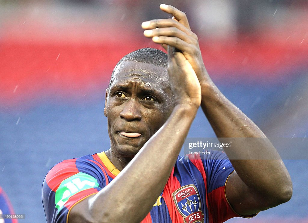 Emile Heskey of the Jets celebrates the win during the round six ALeague match between the Newcastle Jets and Brisbane Roar at Hunter Stadium on...