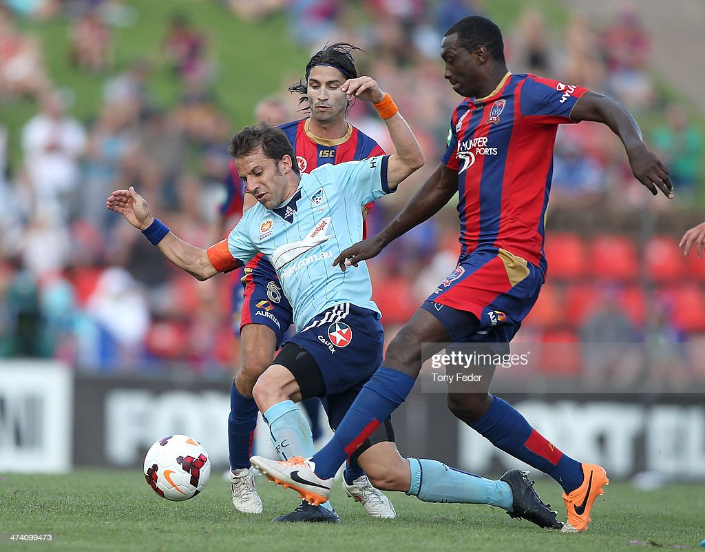Emile Heskey of the Jets contests the ball with Alessandro Del Piero of Sydney FC during the round 20 ALeague match between Newcastle Jets v Sydney...