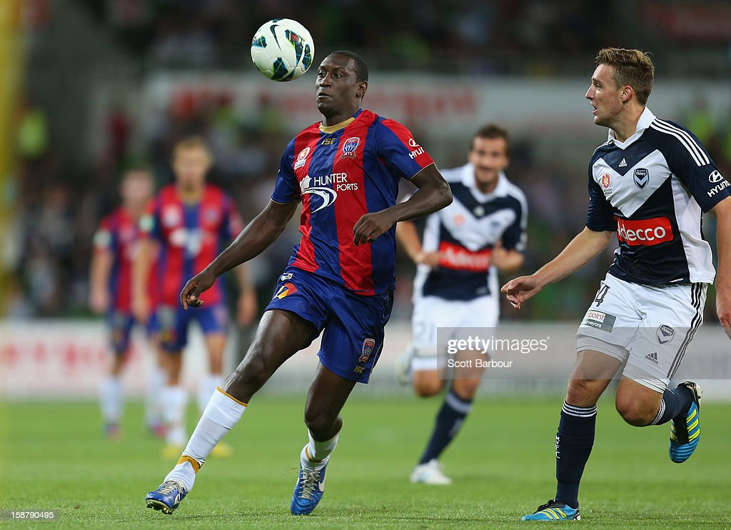 Emile Heskey of the Jets controls the ball during the round 13 A-League match between the Melbourne Victory and the Newcastle Jets at AAMI Park on December 28, 2012 in Melbourne, Australia.