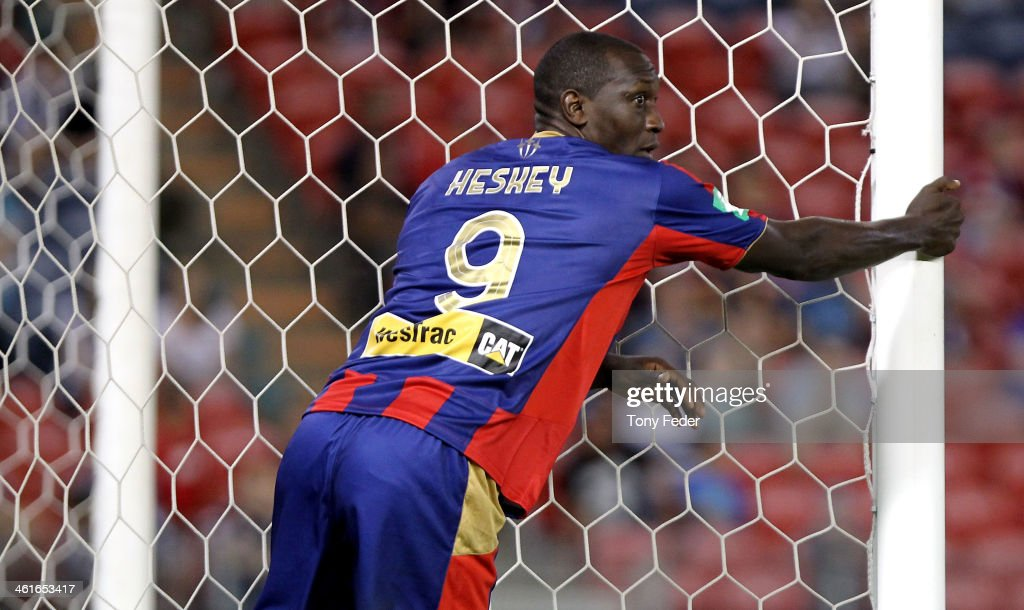 Emile Heskey of the Jets during the round 14 ALeague match between the Newcastle Jets and Melbourne Victory at Hunter Stadium on January 10 2014 in...