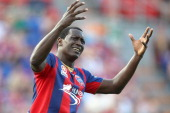 Emile Heskey of the Jets questions the referee during the round 13 ALeague match between the Newcastle Jets and Perth Glory at Hunter Stadium on...