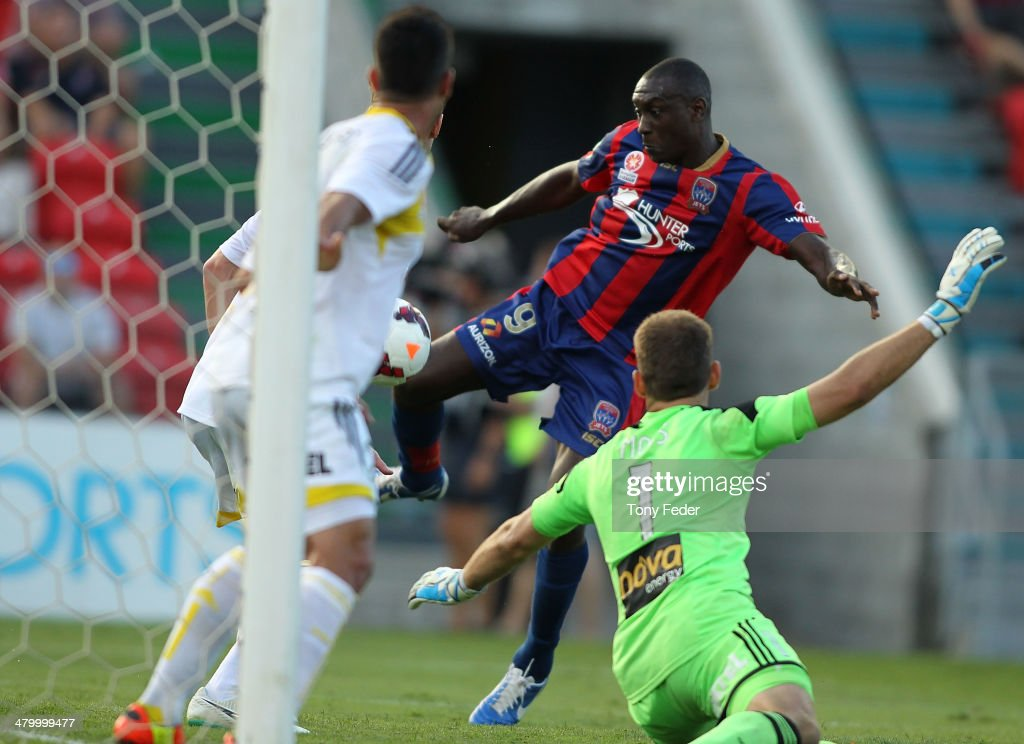 Emile Heskey of the Jets scores a goal during the round 24 ALeague match between the Newcastle Jets and Wellington Phoenix at Hunter Stadium on March...