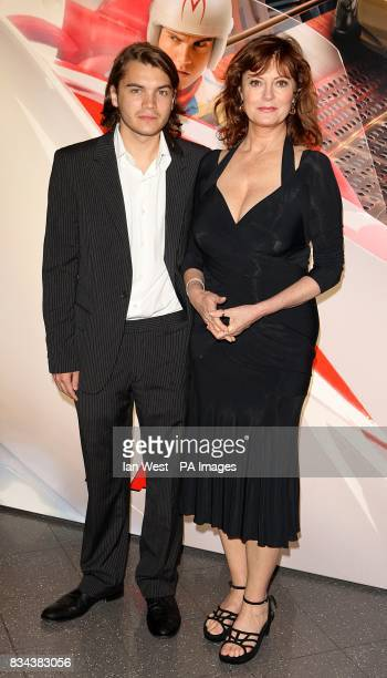 Emile Hirsch and Susan Sarandon arrive for the UK premiere of Speed Racer at the Empire Leicester Square London WC2