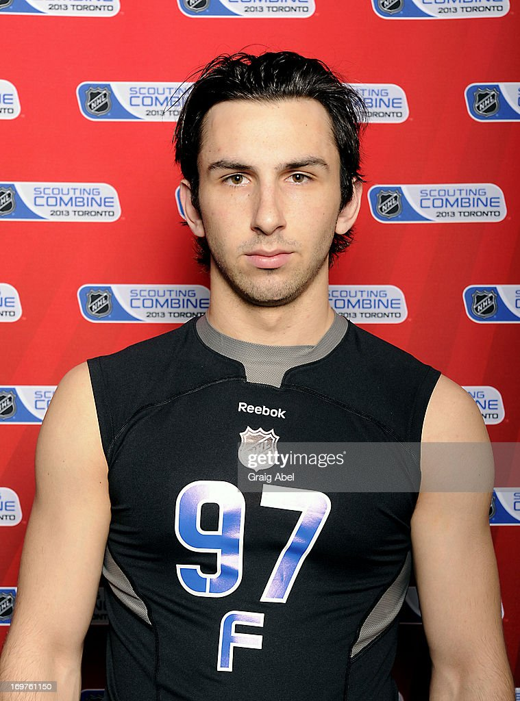 Emile Poirier poses for a head shot prior to testing at the NHL Combine June 1, 2013 at the International Centre in Toronto, Ontario, Canada.