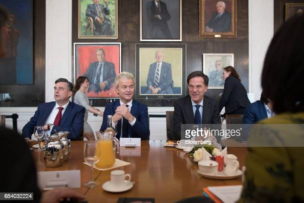 Emile Roemer leader of the Socialist Party left Geert Wilders leader of the Dutch Freedom Party center and Mark Rutte Dutch prime minister and leader...