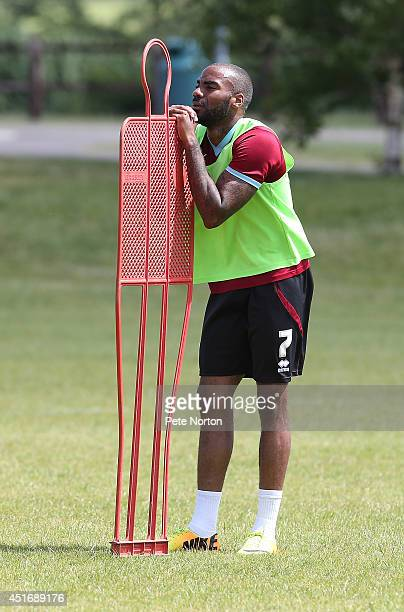 Emile Sinclair of Northampton Town looks on during a training session at Moulton College on July 4 2014 in Northampton United Kingdom