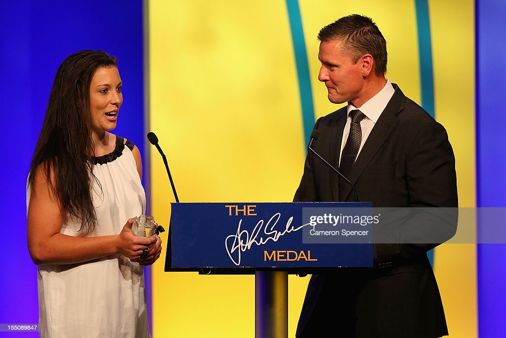 Emilee Cherry accepts her award for 'Womens Player of the Year' during the John Eales Medal at the Sydney Convention and Exhibition Centre on November 1, 2012 in Sydney, Australia.
