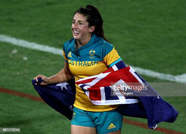 Emilee Cherry of Australia celebrates winning the Gold medal after the Women's Gold Medal Rugby Sevens match between Australia and New Zealand on Day...