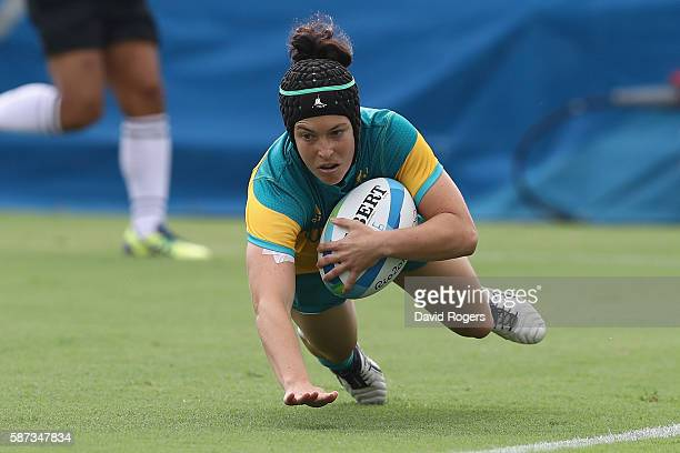 Emilee Cherry of Australia scores Australia try during the Women's Semi Final 1 Rugby Sevens match between Australia and Canada on Day 3 of the Rio...