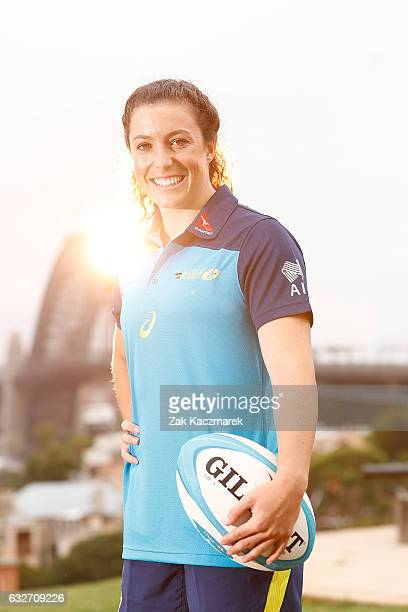 Emilee Cherry poses at Observatory Hill on January 26 2017 in Sydney Australia The Australian Women's Sevens team received OAMs for their gold medal...