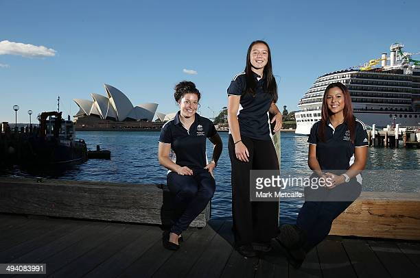 Emilee Cherry Raecene Mcgregor and Tiana Penitani pose during the Australian Youth Olympic Rugby Sevens squad announcement on May 28 2014 in Sydney...