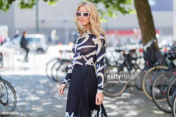 Emili Sindlev wearing a sheer dress outside Munthe on August 09 2017 in Copenhagen Denmark