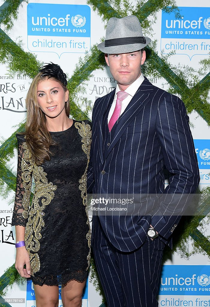 Emilia Bechrakis and Ryan Serhant appear at UNICEF Adventures in Wonderland Masquerade Ball at Marquee on October 30 2014 in New York City