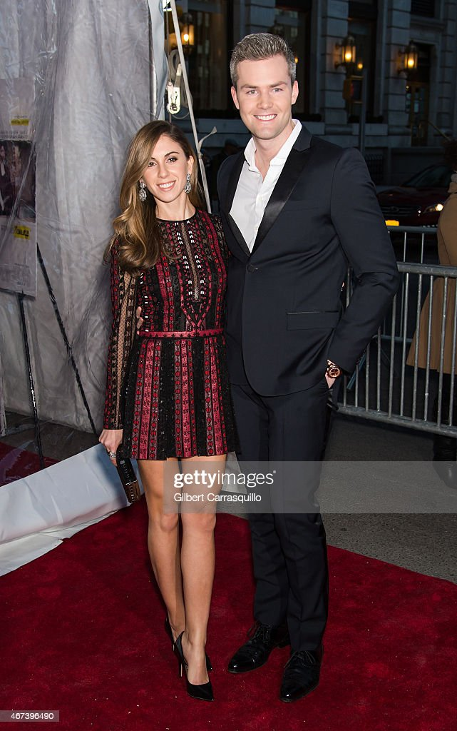 Emilia Bechrakis and Ryan Serhant arrive at 'While We're Young' New York Premiere at Paris Theater on March 23 2015 in New York City