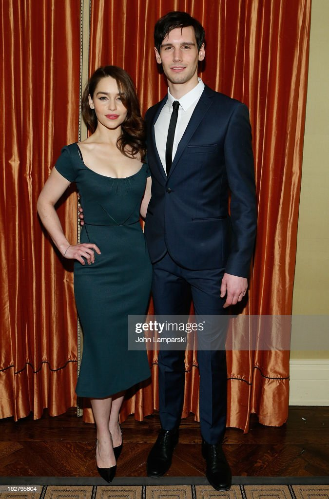 <a gi-track='captionPersonalityLinkClicked' href=/galleries/search?phrase=Emilia+Clarke&family=editorial&specificpeople=7426687 ng-click='$event.stopPropagation()'>Emilia Clarke</a> and Cory Michael Smith attend the 'Breakfast At Tiffany's' Press Preview at Cafe Carlyle on February 27, 2013 in New York City.