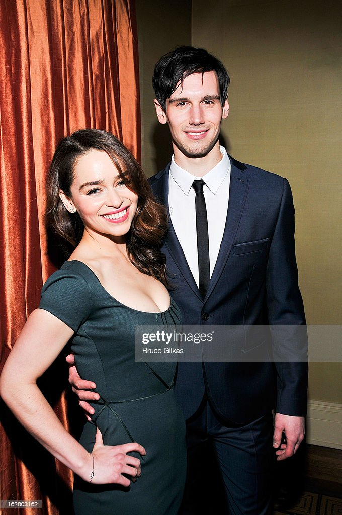 <a gi-track='captionPersonalityLinkClicked' href=/galleries/search?phrase=Emilia+Clarke&family=editorial&specificpeople=7426687 ng-click='$event.stopPropagation()'>Emilia Clarke</a> and Cory Michael Smith attend the press preview for 'Breakfast At Tiffany's' at The Carlyle Hotel Princess Diana Suite on February 27, 2013 in New York City.
