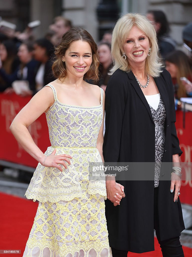 Emilia Clarke and Joanna Lumley attend the European film premiere 'Me Before You' at The Curzon Mayfair on May 25, 2016 in London, England.