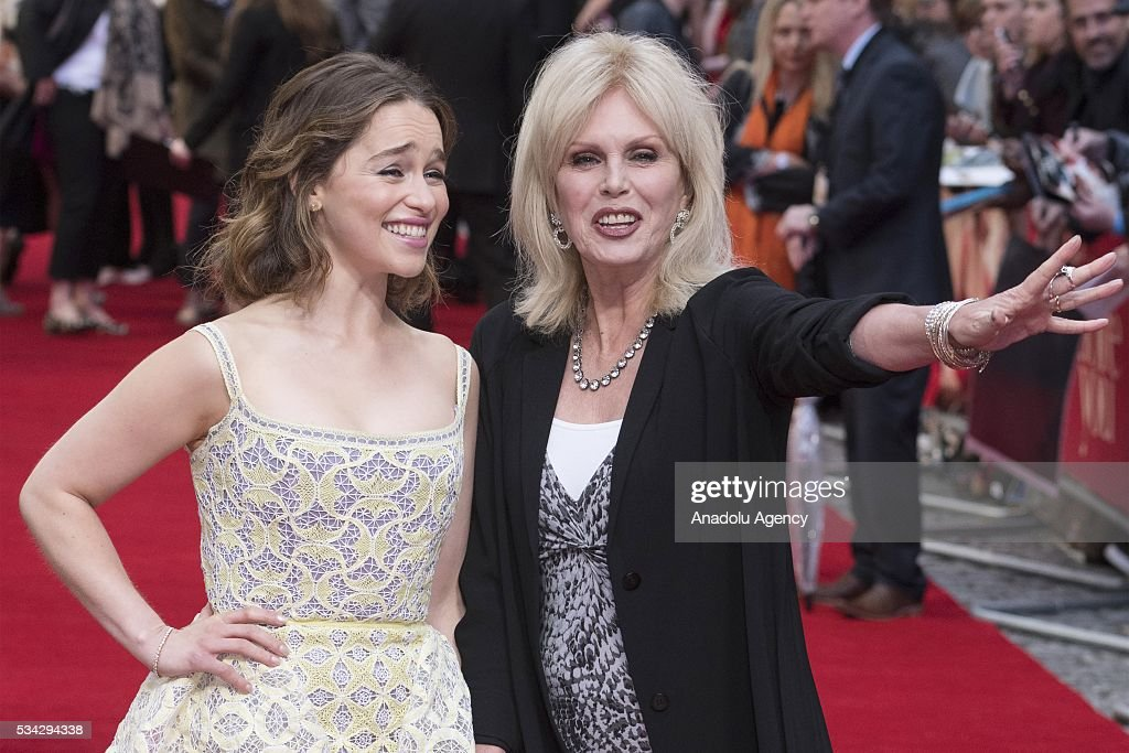 Emilia Clarke (L) and Joanna Lumley (R) attend the film premiere of Me Before You in London, United Kingdom on May 25, 2016.