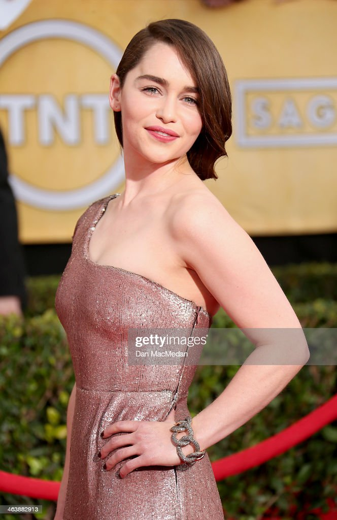 <a gi-track='captionPersonalityLinkClicked' href=/galleries/search?phrase=Emilia+Clarke&family=editorial&specificpeople=7426687 ng-click='$event.stopPropagation()'>Emilia Clarke</a> arrives at the 20th Annual Screen Actors Guild Awards at the Shrine Auditorium on January 18, 2014 in Los Angeles, California.
