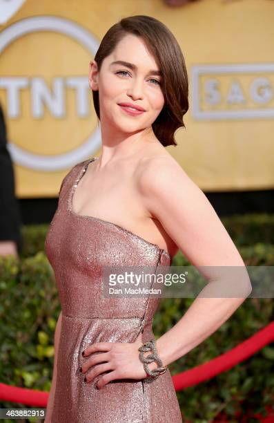 Emilia Clarke arrives at the 20th Annual Screen Actors Guild Awards at the Shrine Auditorium on January 18 2014 in Los Angeles California