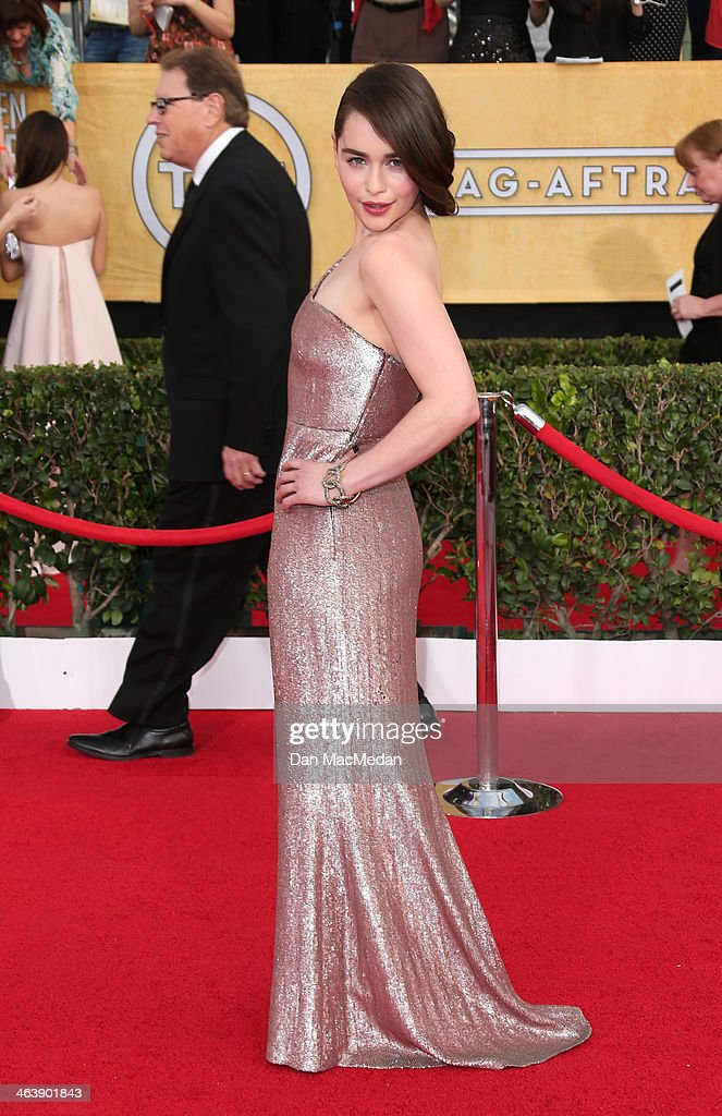 Emilia Clarke arrives at the 20th Annual Screen Actors Guild Awards at the Shrine Auditorium on January 18, 2014 in Los Angeles, California.