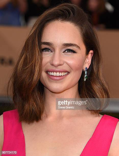Emilia Clarke arrives at the 22nd Annual Screen Actors Guild Awards at The Shrine Auditorium on January 30 2016 in Los Angeles California
