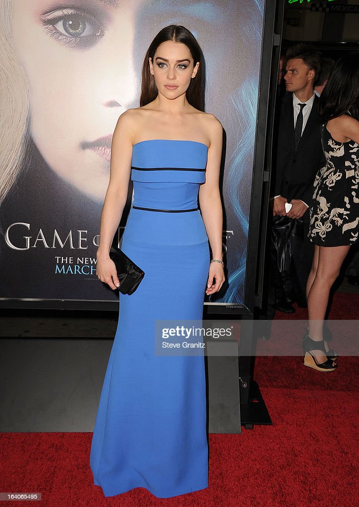 Emilia Clarke arrives at the HBO's 'Game Of Thrones' Season 3 - Los Angeles Premiere at the TCL Chinese Theatre on March 18, 2013 in Hollywood, California.
