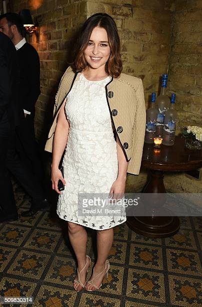 Emilia Clarke attends Harvey Weinstein's preBAFTA dinner in partnership with Burberry and GREY GOOSE at Little House Mayfair on February 12 2016 in...