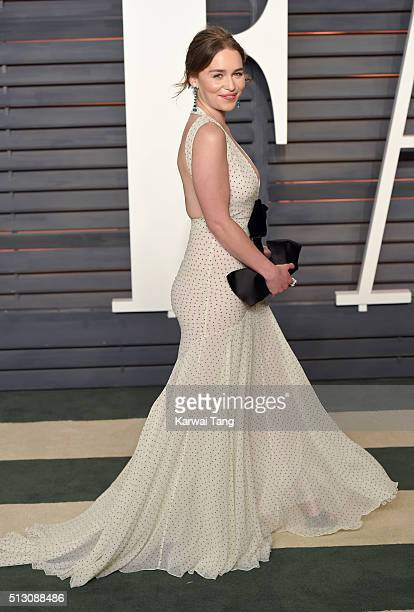 Emilia Clarke attends the 2016 Vanity Fair Oscar Party Hosted By Graydon Carter at Wallis Annenberg Center for the Performing Arts on February 28...
