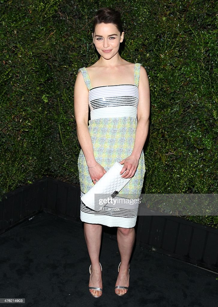 <a gi-track='captionPersonalityLinkClicked' href=/galleries/search?phrase=Emilia+Clarke&family=editorial&specificpeople=7426687 ng-click='$event.stopPropagation()'>Emilia Clarke</a> attends the Chanel Charles Finch Pre-Oscar Dinner held at Madeo Restaurant on March 1, 2014 in Los Angeles, California.