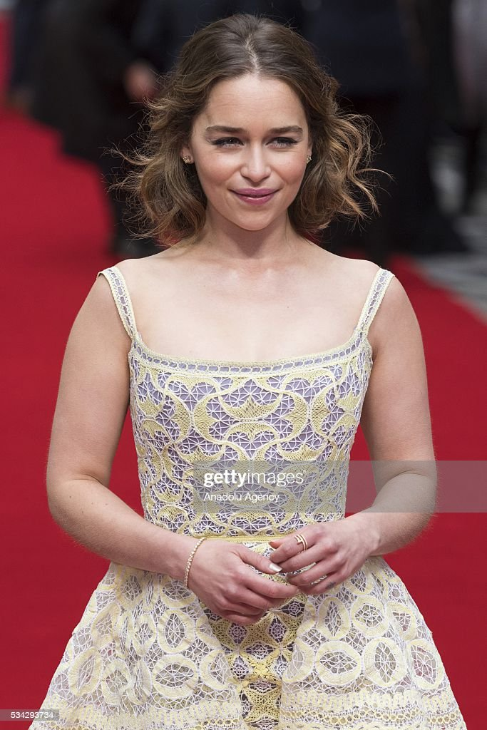 Emilia Clarke attends the film premiere of Me Before You in London, United Kingdom on May 25, 2016.