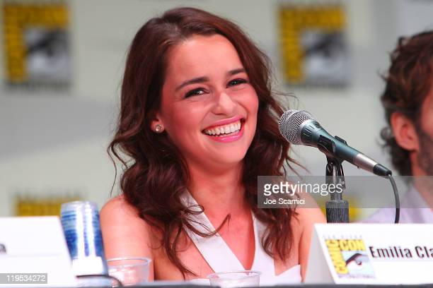 Emilia Clarke attends the 'Game of Thrones' panel at 2011 ComicCon International Day 1 at San Diego Convention Center on July 21 2011 in San Diego...