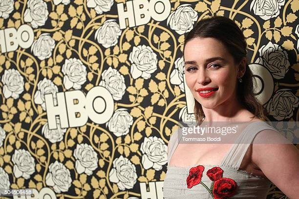 Emilia Clarke attends the HBO's Post 2016 Golden Globe Awards Party held at Circa 55 Restaurant on January 10 2016 in Los Angeles California