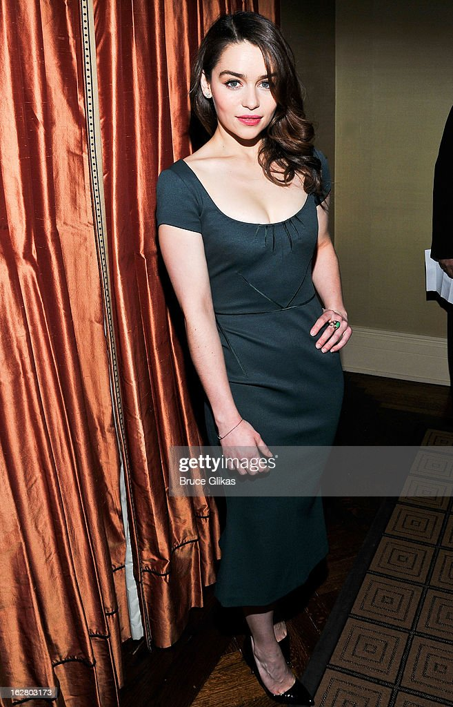 Emilia Clarke attends the press preview for 'Breakfast At Tiffany's' at The Carlyle Hotel Princess Diana Suite on February 27, 2013 in New York City.
