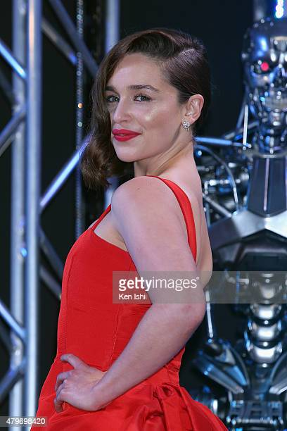 Emilia Clarke attends the Tokyo Premiere of 'Terminator Genisys' at the Roppongi Hills Arena on July 6 2015 in Tokyo Japan