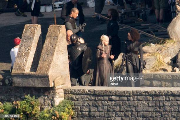 Emilia Clarke is seen at Game of Thrones Set Filming on October 28 2016 in Zumaia Spain
