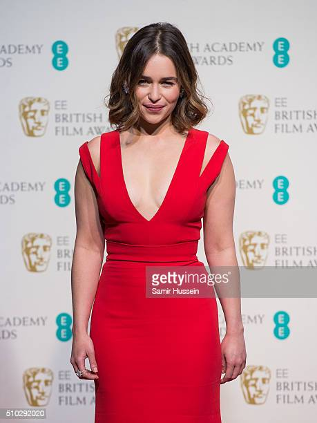 Emilia Clarke poses in the winners room at the EE British Academy Film Awards at The Royal Opera House on February 14 2016 in London England