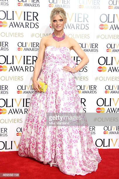 Emilia Fox poses in the winners room at The Olivier Awards at The Royal Opera House on April 12 2015 in London England