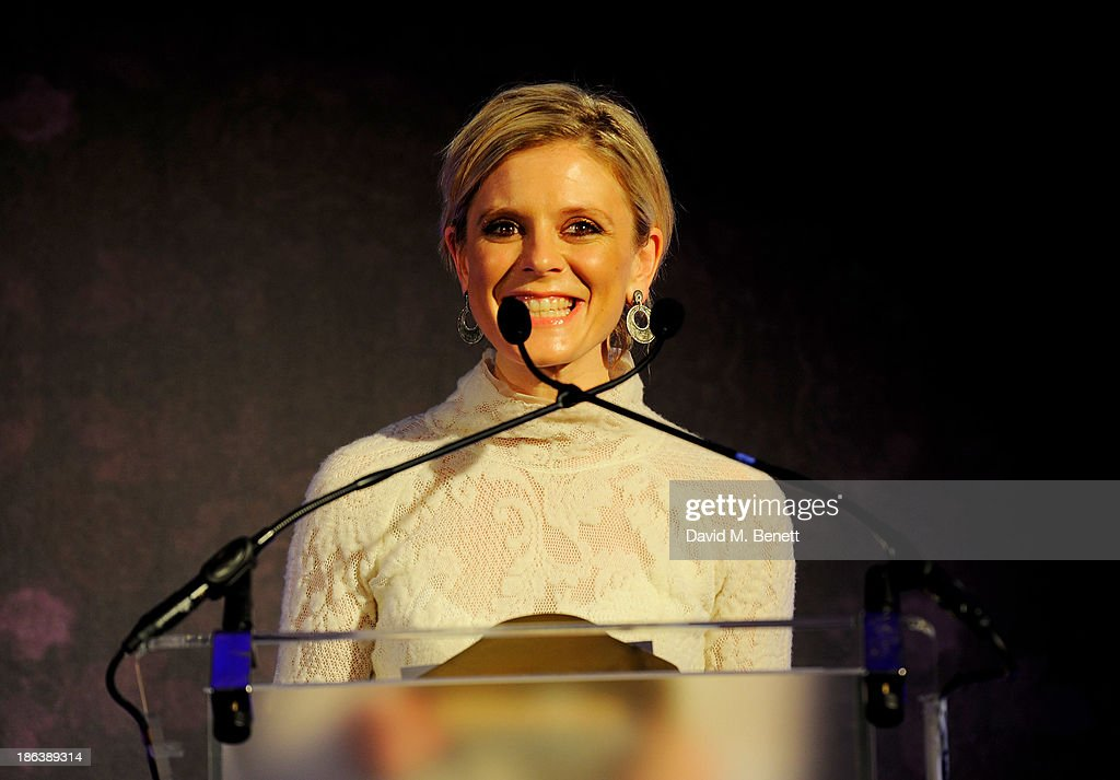 Emilia Fox presents the Preciosa Footwear & Accessories Design Team award onstage at The WGSN Global Fashion Awards at the Victoria & Albert Museum on October 30, 2013 in London, England.
