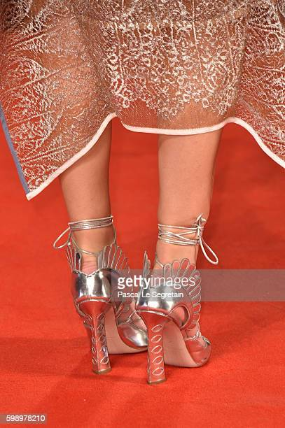 Emilia Jones SHOES DETAIL attends the premiere of 'Brimstone' during the 73rd Venice Film Festival at Sala Grande on September 3 2016 in Venice Italy