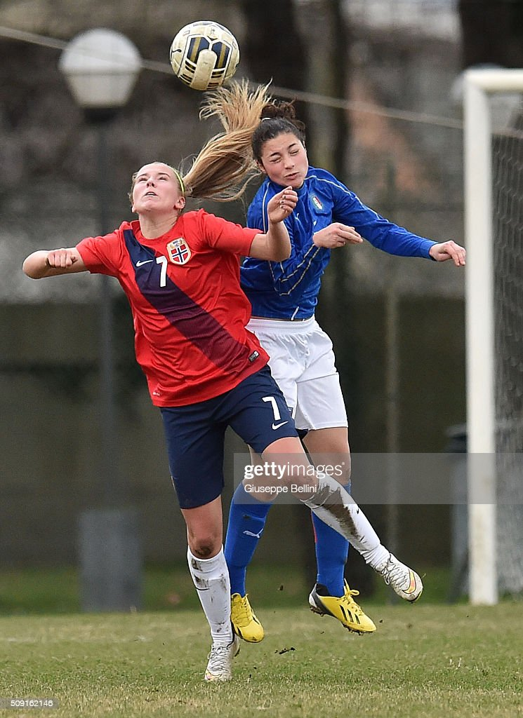 Emilia Nautnes of Norway and Federica Veritti of Italy in action during the Women's U17 international friendly match between Italy and Norway on February 9, 2016 in Cervia, Italy.