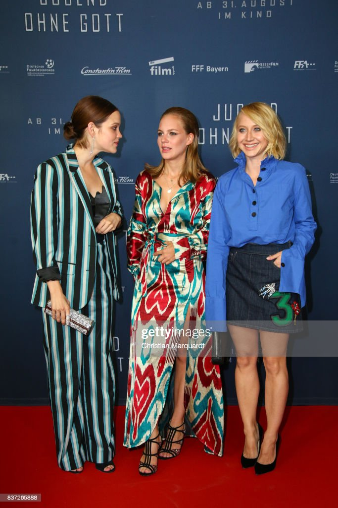 Emilia Schuele, Alicia von Rittberg and Anna Maria Muehe attend the premiere of 'Jugend ohne Gott' at Zoo Palast on August 22, 2017 in Berlin, Germany.