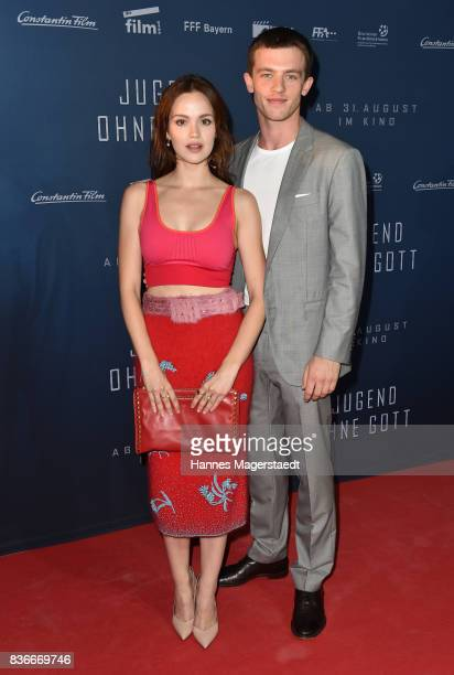 Emilia Schuele and Jannis Niewoehner during the 'Jugend ohne Gott' premiere at Mathaeser Filmpalast on August 21 2017 in Munich Germany