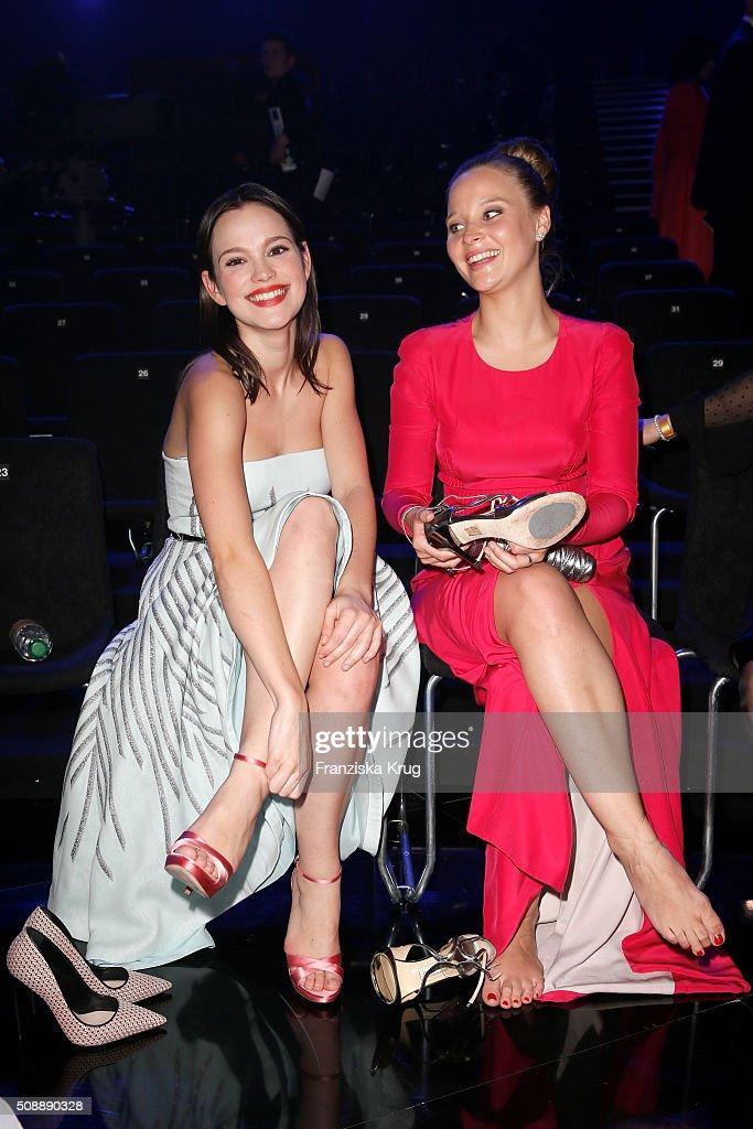 Emilia Schuele and Sonja Gerhardt attend the Goldene Kamera 2016 show on February 6, 2016 in Hamburg, Germany.
