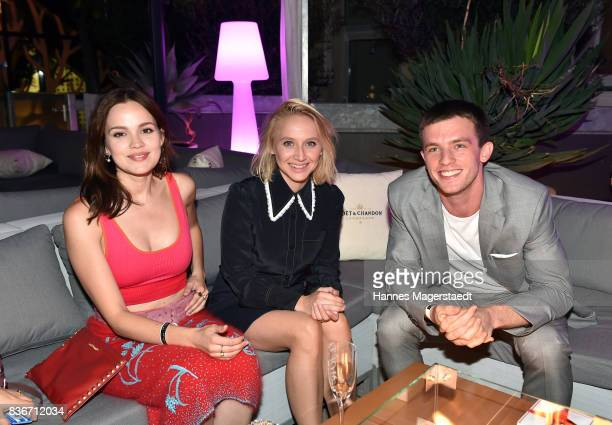 Emilia Schuele Anna Maria Muehe and Jannis Niewoehner during the 'Jugend ohne Gott' premiere party at H'Ugo's on August 21 2017 in Munich Germany