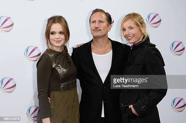 Emilia Schuele Benno Fuermann and Nadja Uhl attend 'In einem wilden Land' Premiere at Astor Film Lounge on October 29 2013 in Berlin Germany