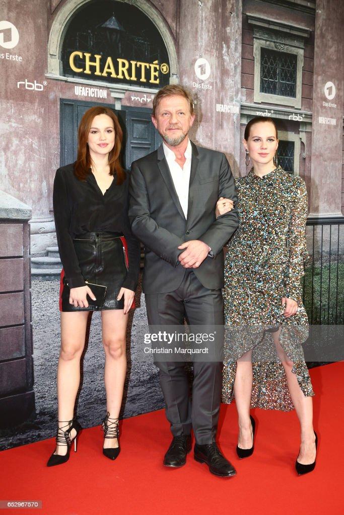 Emilia Schuele, Soenke Wortmann and Alica von Rittberg attend the 'Charite' premiere at Langenbeck-Virchow-Haus on March 13, 2017 in Berlin, Germany.